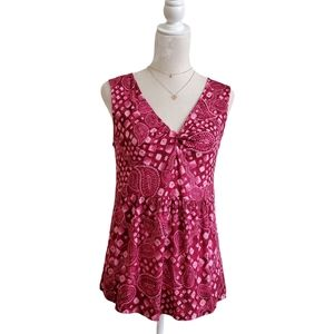 Style&Co Tank Top Boho Red Wine Pink Print Flare